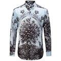 Классический Новый 2016 Мужчины Павлин Отпечатано Рубашки Моды Случайные Дизайнер Бренда Camisa Masculina T0163