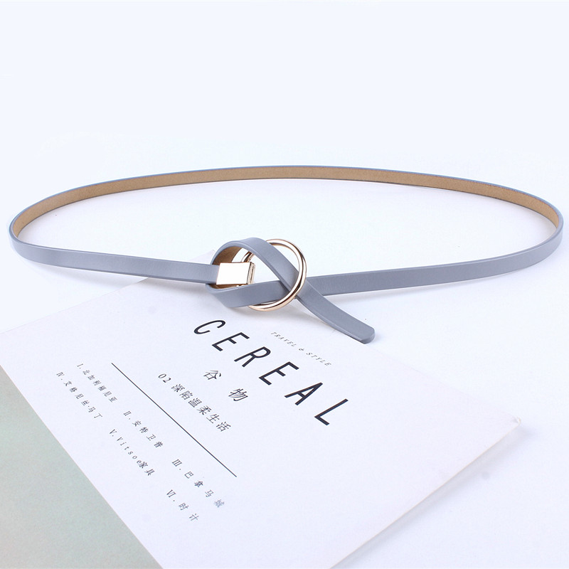 new fashion strap thin cowskin genuine leather   belts   waist metal round buckle for women dresses circle waist rope casual luxury