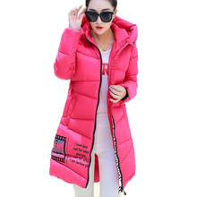 2016 New Plus Size Winter Wadded Jacket Women Thick Warm Hooded Long Down Cotton Padded Jacket Parkas Slim Winter Coat SW174