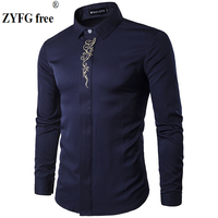 2018 Men Long Sleeved Shirts New Summer Fashion Male Popular Clothes Slim Fit Embroidery Pattern Cotton