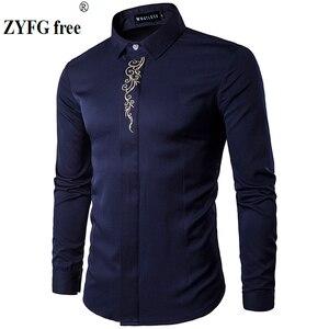 Image 1 - 2019 גברים מקרית ארוך שרוולים חולצות חדש קיץ אופנה חולצה Slim Fit רקמת דפוס כותנה חולצה האיחוד האירופי גודל