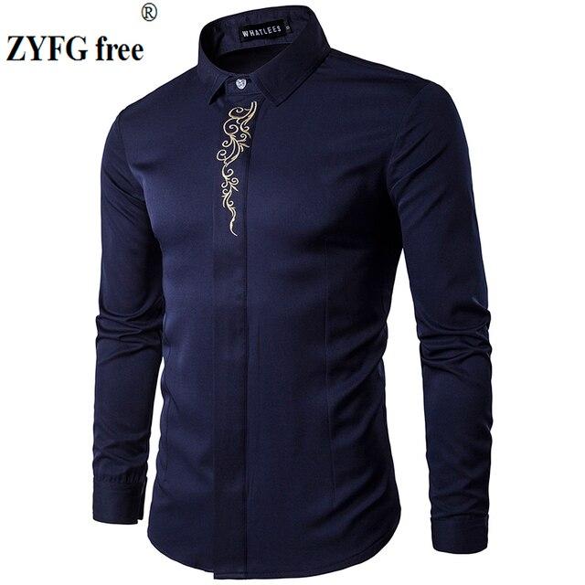 2019 גברים מקרית ארוך שרוולים חולצות חדש קיץ אופנה חולצה Slim Fit רקמת דפוס כותנה חולצה האיחוד האירופי גודל
