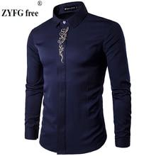 2019 męskie koszule z długim rękawem nowa letnia modna koszula odzież męska Slim Fit haftowany wzór bawełniana koszula rozmiar ue