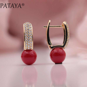 PATAYA New Arrivals 585 Rose Gold Turkish Blue Shell Pearls Natural Zircon Dangle Earrings Women Wedding Party Luxury Jewelry(China)