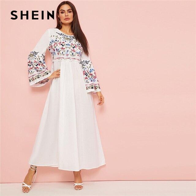 SHEIN Abaya Blume Bestickt Frilled Trim Glocke Hülse Kleid Frauen Frühling Herbst Maxi Weiß Kleid Lose EINE Linie Elegante Kleider