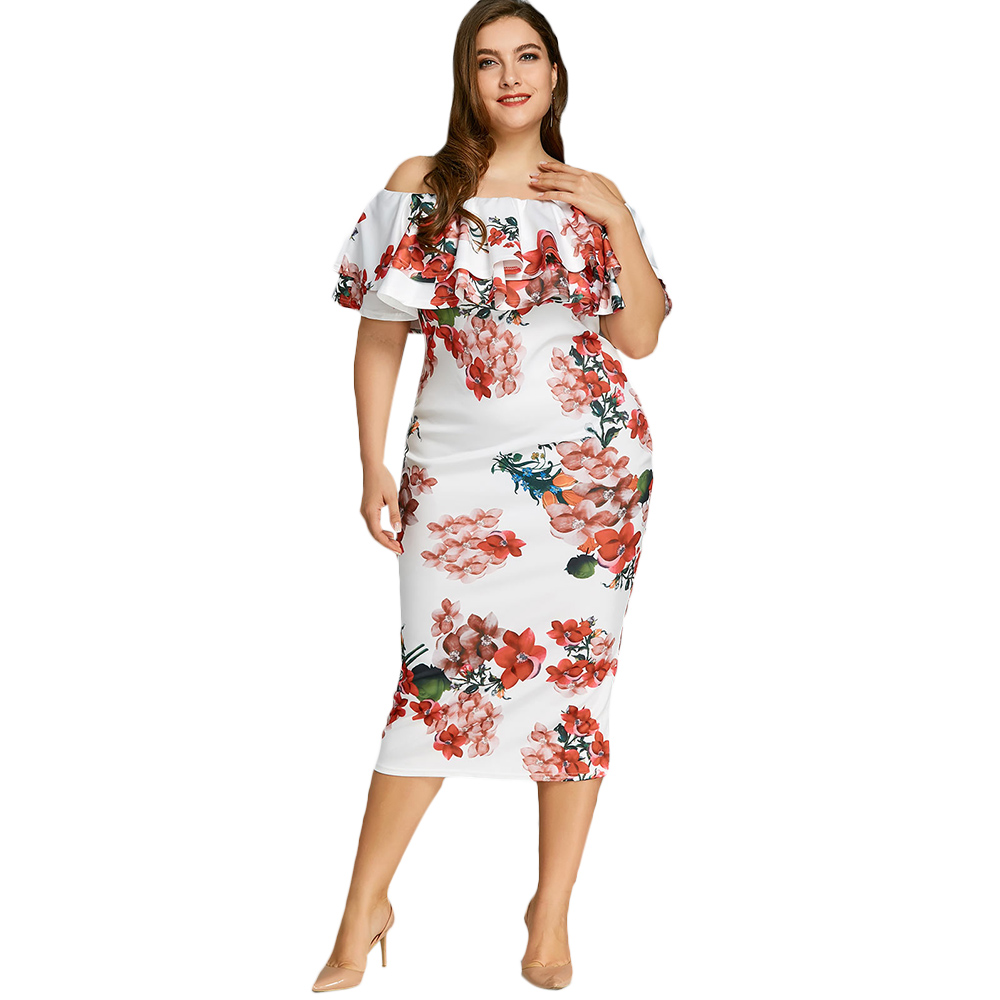 f043c55913d59 US $26.52 Wipalo Plus Size Floral Print Ruffled Boho Midi Dress ...