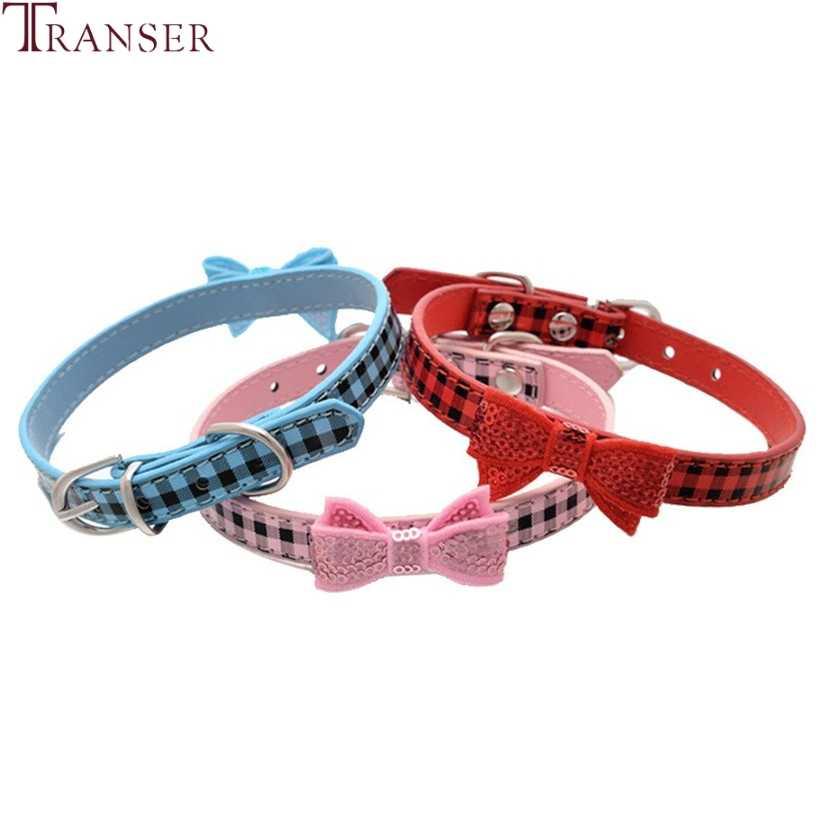 Transer אספקת כלב חמוד עור מפוצל משובץ חיות מחמד כלב צווארון עם פאייטים Bowknot לכלבים קטנים 80124