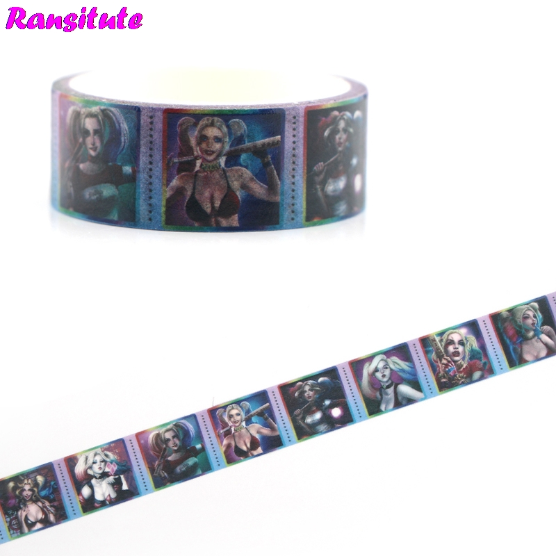 Ransitute R479 Horror Movie Color Washi Paper Tape Manual DIY Decorative Masking Tape Removable Sticker