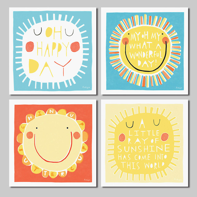 4Pcs/set Lovely Cartoon Sun Smile Decoration Sunshine Wall Art ...