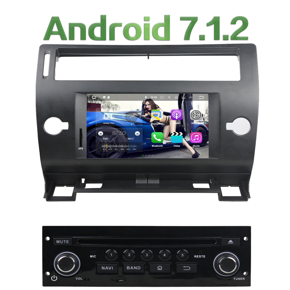 Android 7.1.2 Quad Core 2G RAM 16GB ROM Support 4G LTE SIM Network GPS Car DVD Multimedia radio for Citroen C4 2005-2011