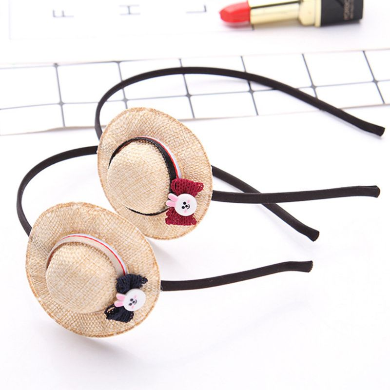 1pc Child Kids Metal Alloy Cloth Wrapped Headband Cute Mini Cartoon Straw Sun Hat Bowknot Hair Hoop Party Beach Headwear Fine Quality