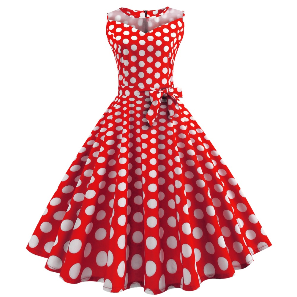 Retro Vintage Style Sleeveless with Bow 3D Skull Dot Printed 2018 Summer Women Dress A-line Red Lace up Party Sexy Casual Dress thumbnail