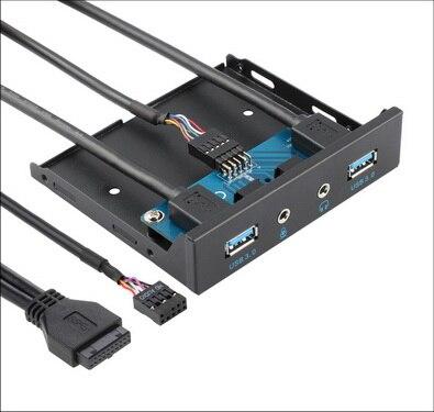 """50 Pcs 3.5 """"floppy Bay 20 Pin 4 Poorten Usb 3.0 Hub Hd Audio 3.5mm Koptelefoon Microfoon Connector Pc Voorpaneel Bracket Elegant In Geur"""