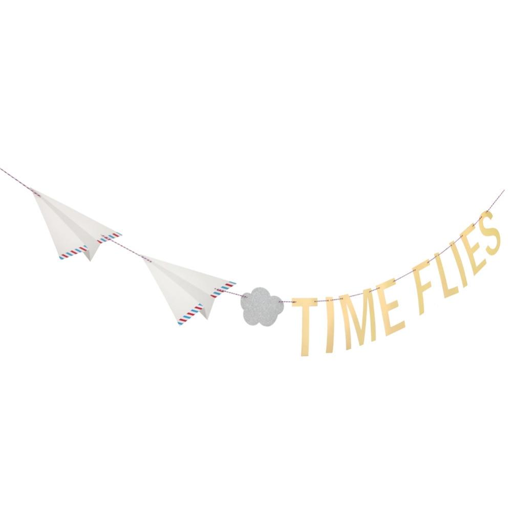Vintage TIME FLIES Літак Хмар Партія Банер - Святкові та вечірні предмети