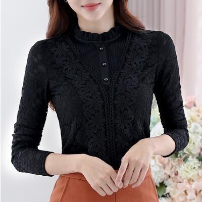 Social Women Autumn Elegant White Floral Lace Blouses Velvet Ladies Slim Shirts Work Tops Sweet Camisas Mujer A326