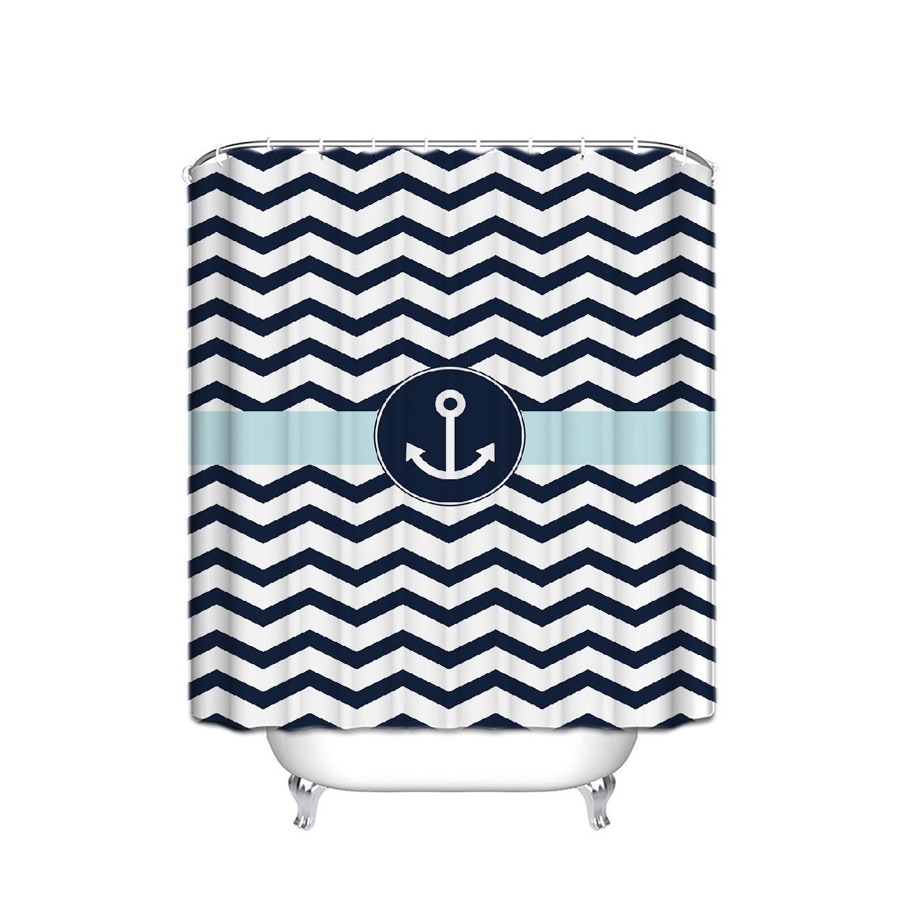 Navy blue patterned curtains - Custom Navy Blue And White Chevron With Nautical Anchor Pattern Bathroom Shower Curtain 60x 72in For Bathroom