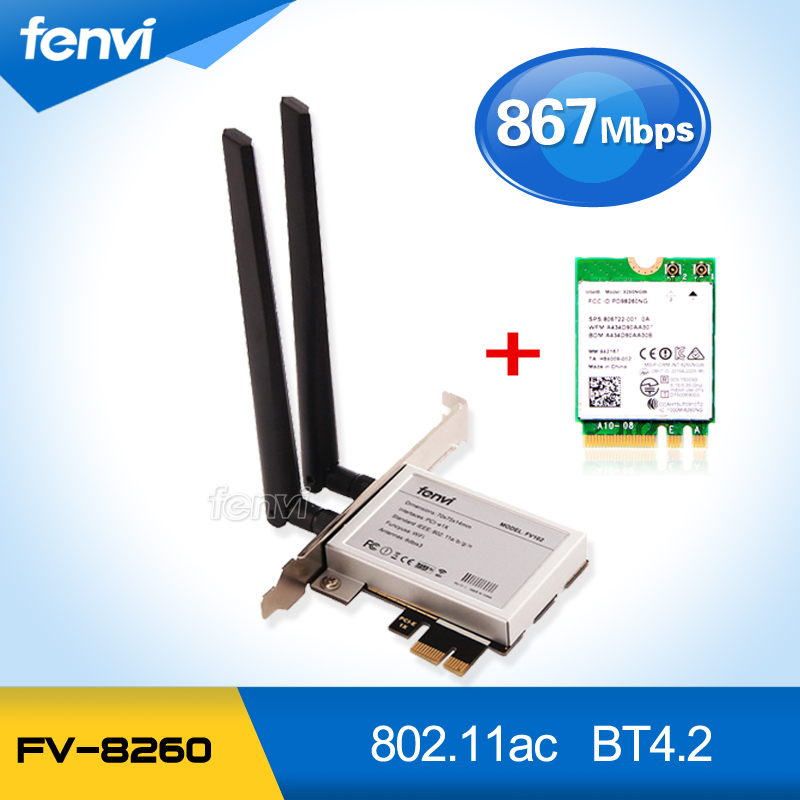 Fenvi PCi Express 8260AC Dual Band 8260NGW 867Mbps Wireless PCI-E Desktop WiFi Adapter with Bluetooth BT 4.2 Wlan Network