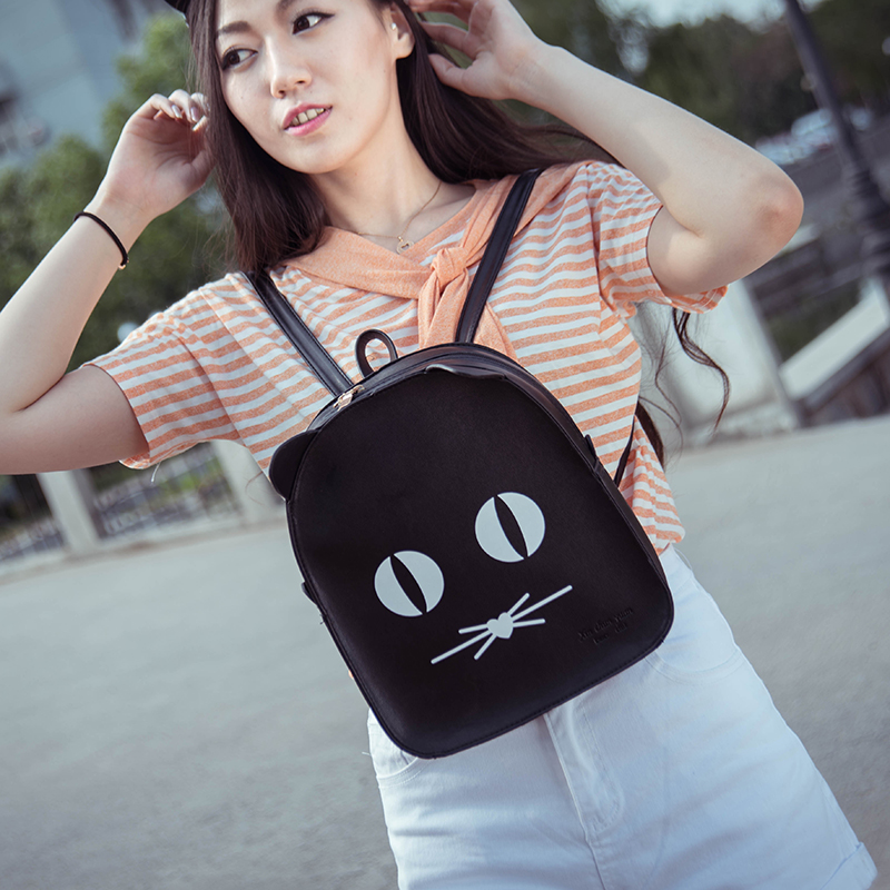 2017 new winter Korean fashionista cute little kitty ears cartoon backpack Backpack Bag Maotou personality