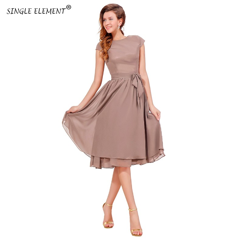 Élément unique 100% Photo réelle genou longueur couvert bouton arc en mousseline de soie robes de demoiselle d'honneur