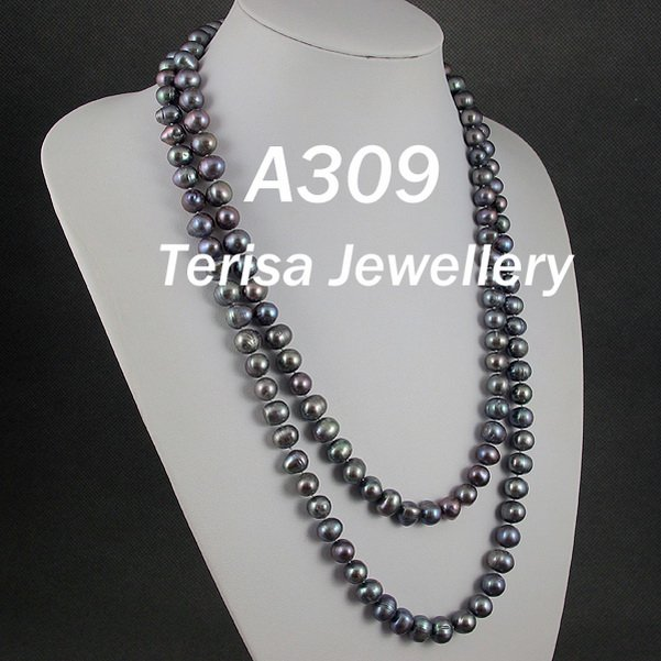 New Free Shipping A309#,New AA Natural Dark Grey Color Fresh Water Pearls Necklace 9 10MM 100cm(40inch)Long Necklace.