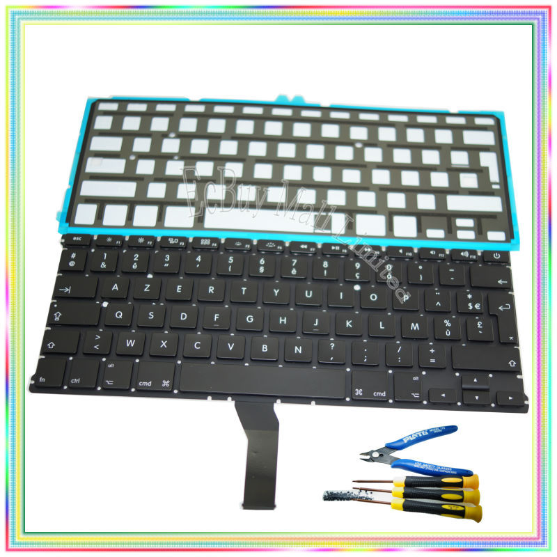 Brand new AZERTY FR French France Keyboard with Backlight keyboard screws screwdriver tools for Macbook Air