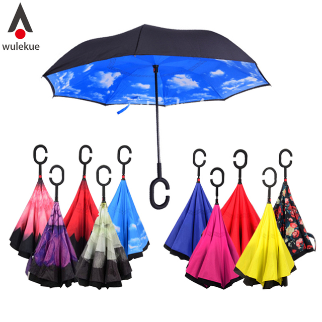 Drop Shipping Windproof Reverse Folding Double Layer Inverted Chuva Umbrella Self Stand Rain Protection C-Hook Hands For Car