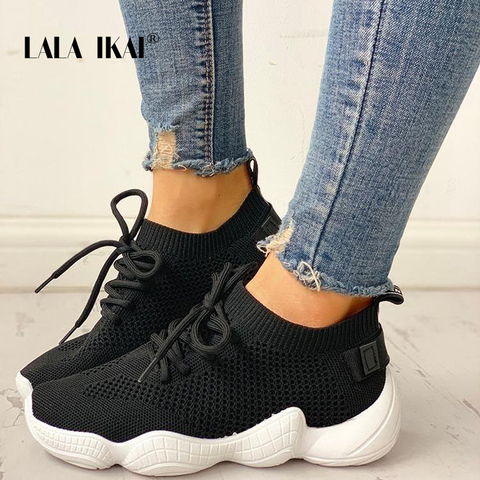 LALA IKAI Sneakers Women Spring Breathable Mesh Shoes Casual Lace Up Vulcanize Shoes Female Soft Pink Tenis Shoes 014A3796-4 Lahore