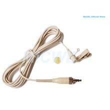 """Beżowy ME2 klip mikrofon przypinany typu lavalier Mic dla Sennheiser EW G1 G2 G3 bezprzewodowy 1/8 """"zablokuj wtyczkę"""