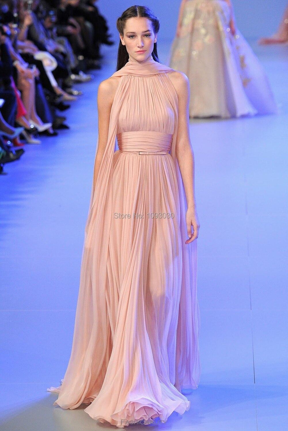 Nuevo diseño 2016 baratos Pink gasa Zuhair Murad vestidos noche piso ...