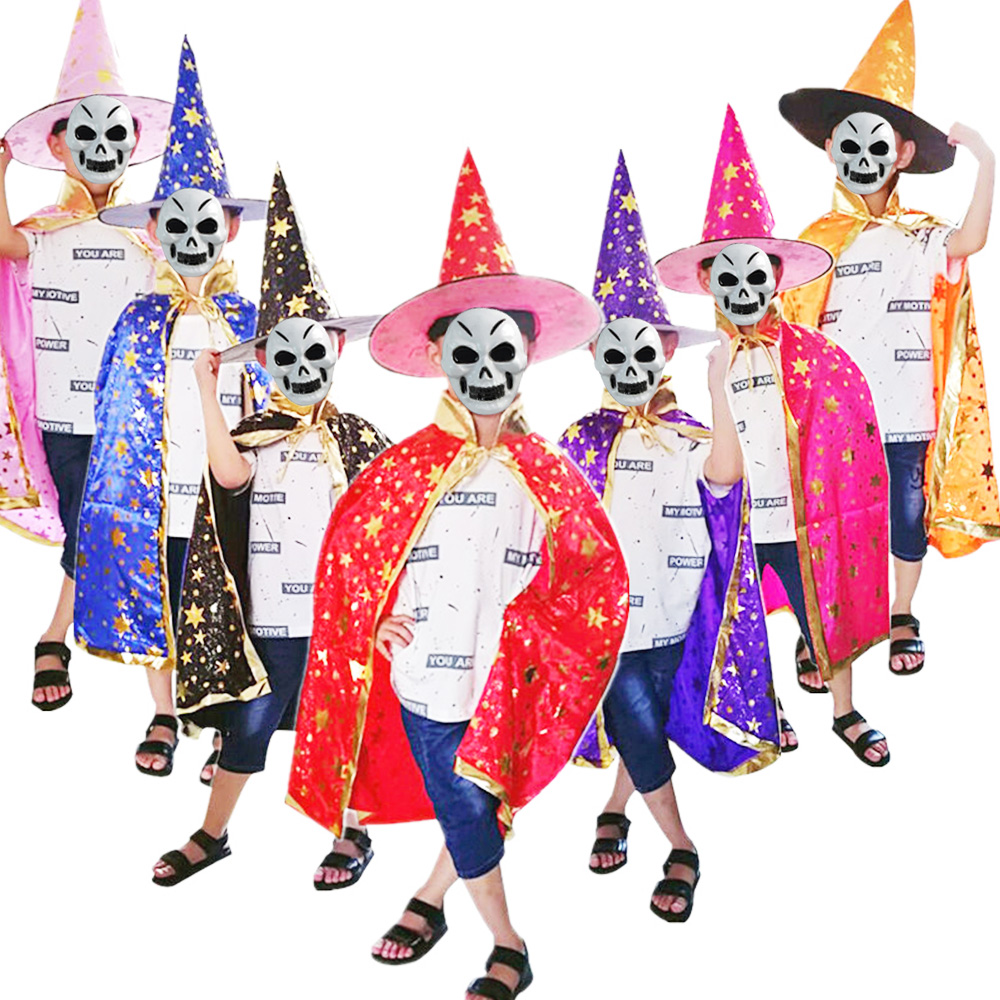 Kids Wizard Witch Cloak Cape Robe Hat Halloween Party Show Masquerade Costume M