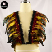 Nieuwe Kant feather beha wings dames kooi elastische harnas top rave beha boho festival vest veer harnas fetish wear body harnas