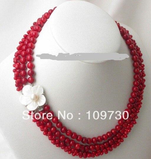 Bijoux 0011933 Noble 3 brins naturel corail collier fleur coquille cam