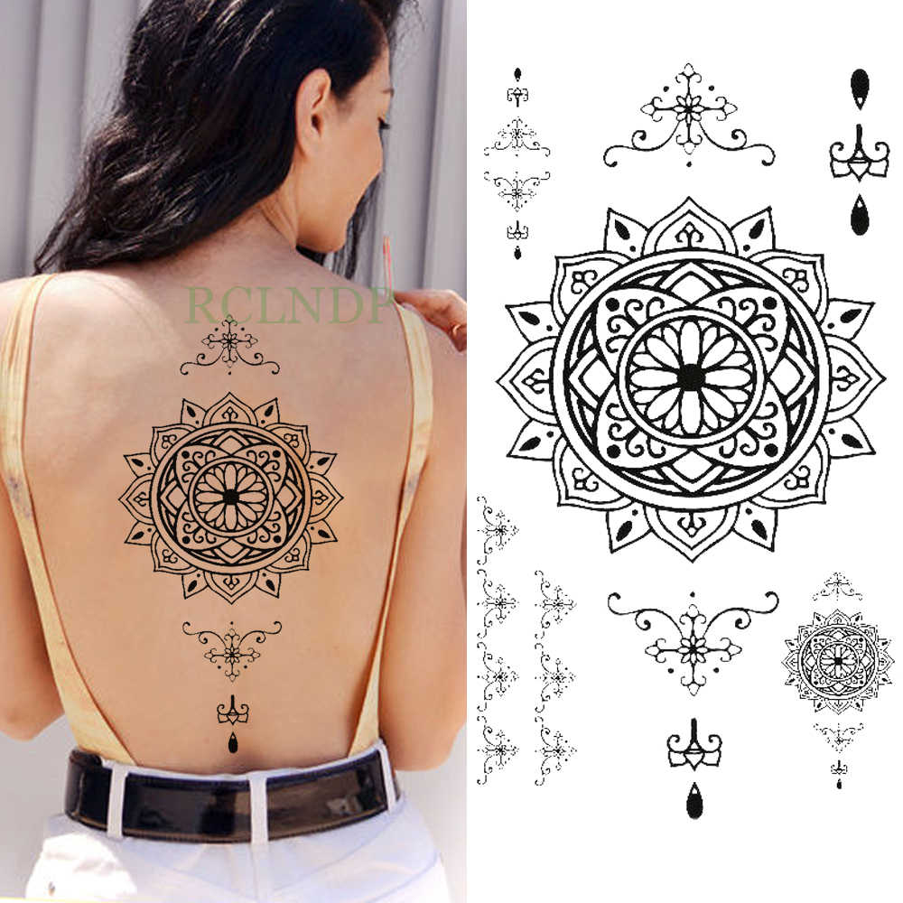 7810cd0e8 Waterproof Temporary Tattoo Sticker mandala totem Fake Tatoo Flash Tatto  water transfer Breast Chest Back Belly