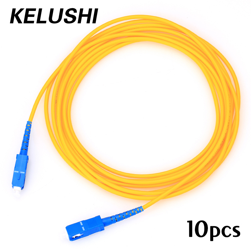 Free Shipping 10pcs SC-SC 3meters 3.0mm Pigtail Fiber Optic Jumper Cables FTTH Singlemode Single Core Connecting Tools KELUSHI