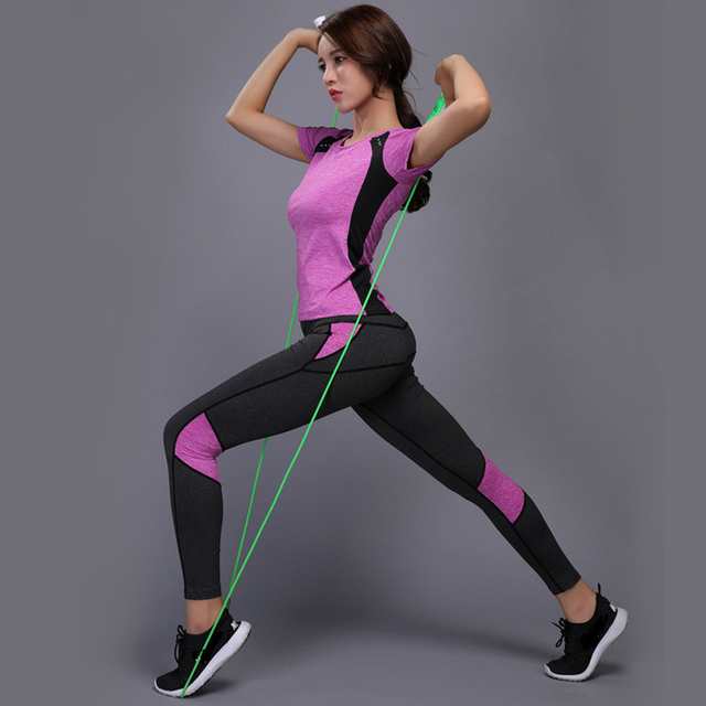 OLOEYER Sexy Yoga Set sports wear for women gym TShirt+Pants Breathable Gym Workout Clothes Compressed Yoga Leggings Sport Suit