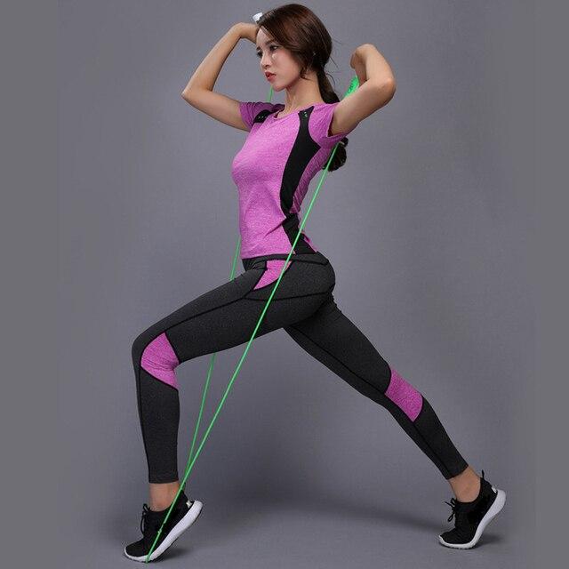 OLOEYER סקסי יוגה סט ספורט ללבוש לנשים כושר TShirt + מכנסיים לנשימה חדר כושר בגדי אימון דחוס יוגה חותלות ספורט חליפה