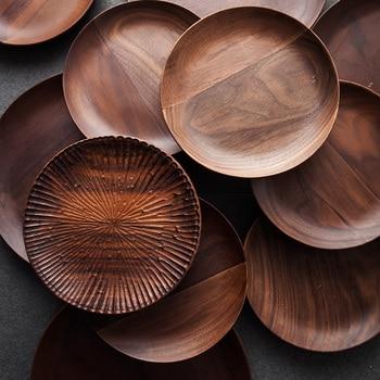 Black walnut circle breakfast wool pallet home fashion dim sum plate solid wood tea tray circle