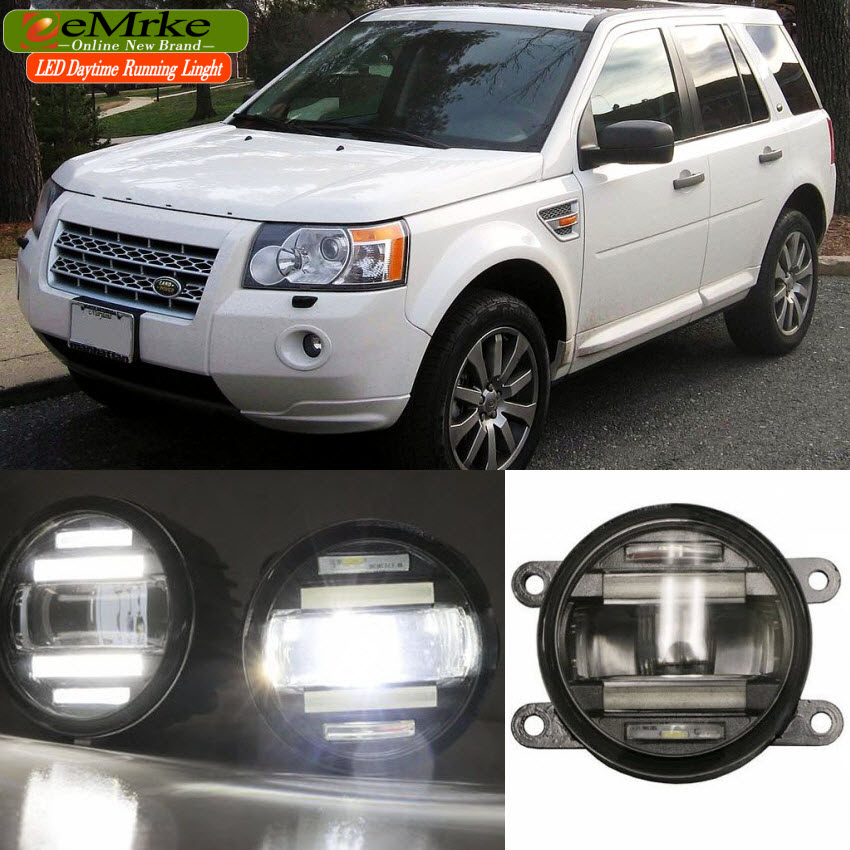 eeMrke Car Styling For Land Rover Freelander 2 L359 in 1 LED Fog Light Lamp DRL With Lens Daytime Running Lights eemrke car styling for opel zafira opc 2005 2011 2 in 1 led fog light lamp drl with lens daytime running lights