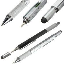 2 pçs 7 cores multifuncional caneta esferográfica chave de fenda tela toque metal presente ferramenta escritório & material escolar caneta papelaria