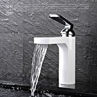 HPB White Waterfall Copper Bathroom Faucet Basin Mixer Tap Hot and Cold Sink Water Torneira Cozinha HP3029