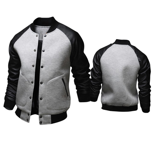 Brand New Jacket Men 2016 Fashion Design Pu Leather Sleeve Mens ...