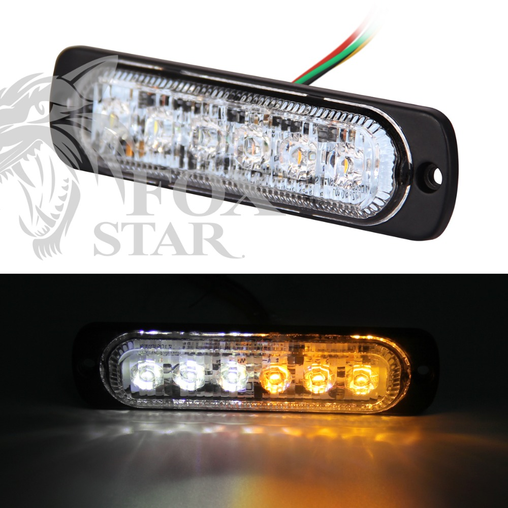 Bright White & Amber 6-LED Car Truck Van Side Strobe Light Warning Flasher Caution Emergency Construction 19 Flash Modes bright amber 24 led strobe light warning emergency flashing car truck construction car vehicle safety 7 flash modes 12v