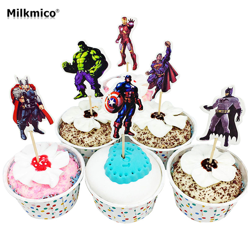 24pcs Avenger Cupcake Topper Picks Kids Baby Birthday Party Decor Cake Decorations Baby Shower Food Picks Cake Topper Supplies