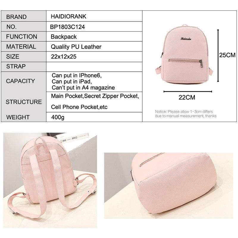2018 Fashion Women s Cute Candy Little Backpacks For Teenage Girls PU  Leather Bag Waterproof Small BagPack Sweet Mini Backpack-in Backpacks from  Luggage ... 04c9da8345d36