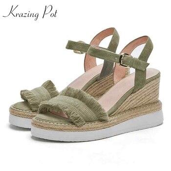 Krazing Pot 2019 sheep suede daily wear thick bottom gladiator woman superstar tassel fringe decoration waterproof sandals L30