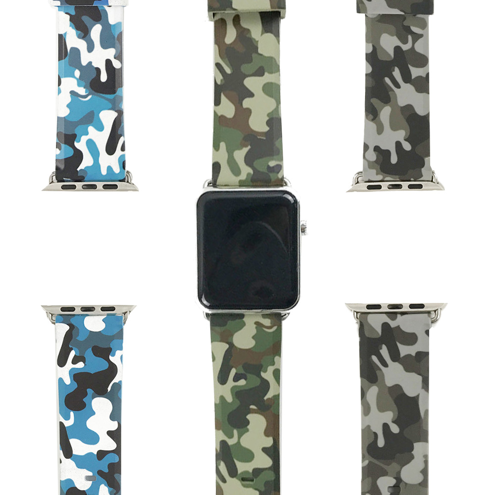 Camouflage Strap for Apple Watch Band 6 44mm 40mm 38mm 42mm Silicone Leather Bracelet for iWatch Series SE 6 5 4 3 2 Wrist Belt