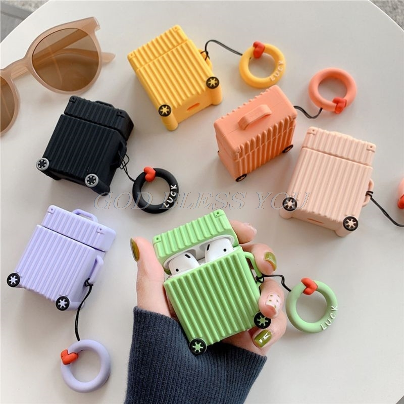 Fashion Cute Suitcase Trunk Luggage Case For Apple Airpods 1/2 Earphone Protective Cover with Finger Ring Strap