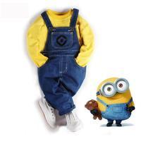 ملابس الأطفال نماذج انفجار عبر الحدود القليل الأصفر كاوبوي مريلة السراويل الأوروبية والأمريكية القليل الصفراء سترة بدلة