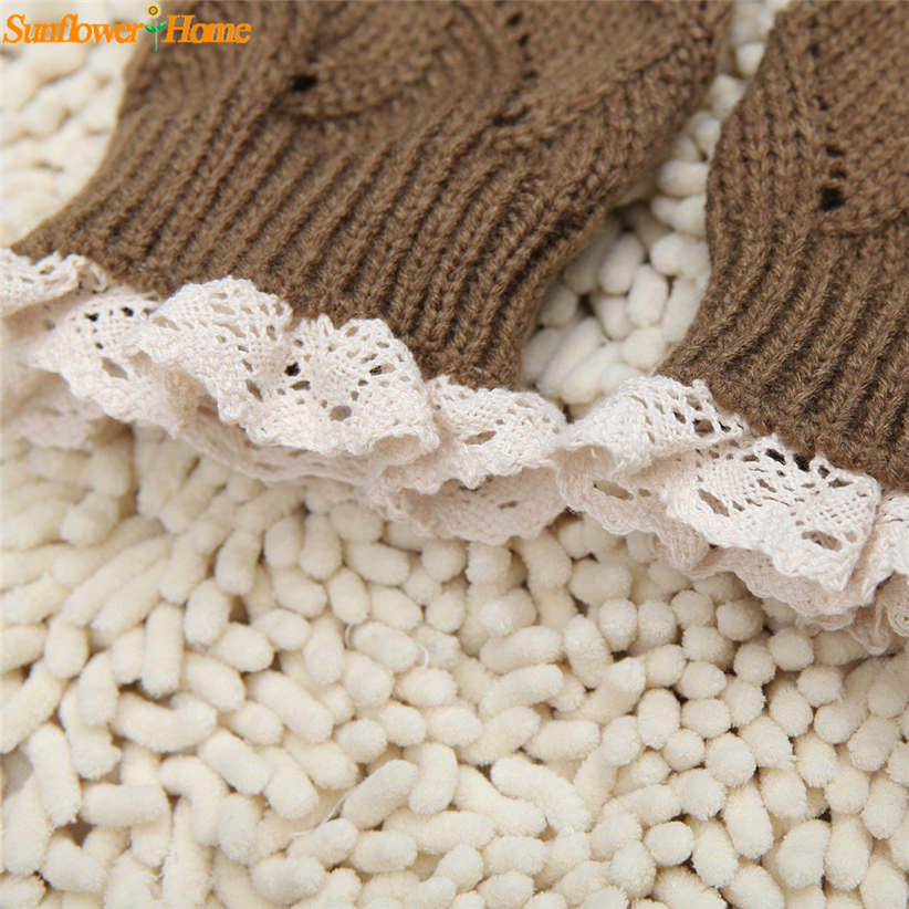 Newly Design Women Solid Hollow Lace Knitted Short Leg Warmers Boot Leg Cover 161121 Drop Shipping