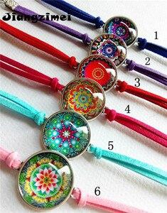 Image 4 - Jiangzimei 24 teile/los Bandana Paisley Mandala Blume armbänder Ethnische Retro Stil Glas cabochon Leder Armband paty geschenk